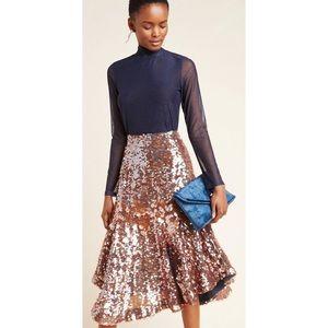 Anthro Dhruv Kapoor Leonita Sequined Midi Skirt